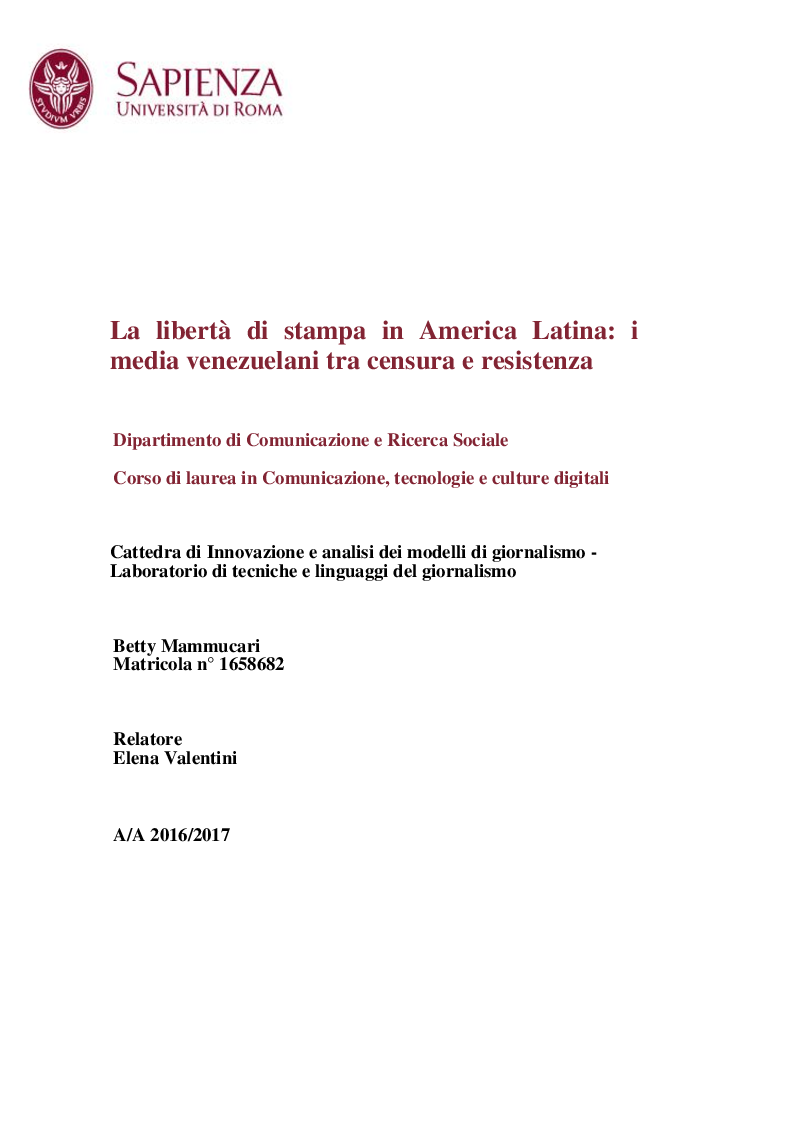 Anteprima della tesi: La libertà di stampa in America Latina: i media venezuelani tra censura e resistenza , Pagina 1