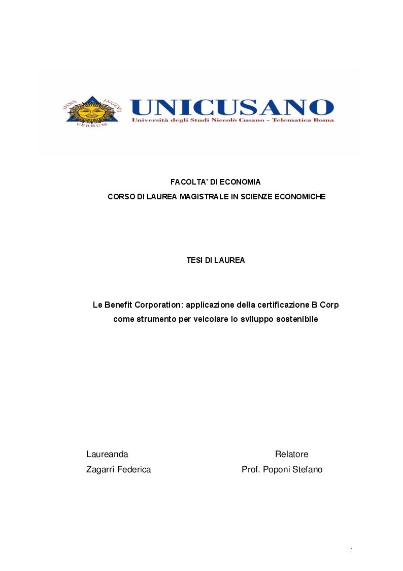 Anteprima della tesi: Le Benefit Corporation: applicazione della certificazione B Corp come strumento per veicolare lo sviluppo sostenibile, Pagina 1