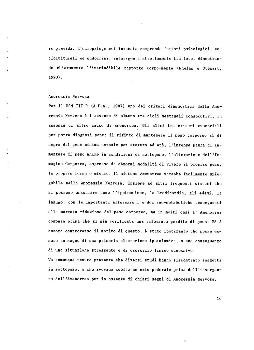 Estratto dalla tesi: Corpo Vissuto, Corpo Percepito nell'Amenorrea Secondaria
