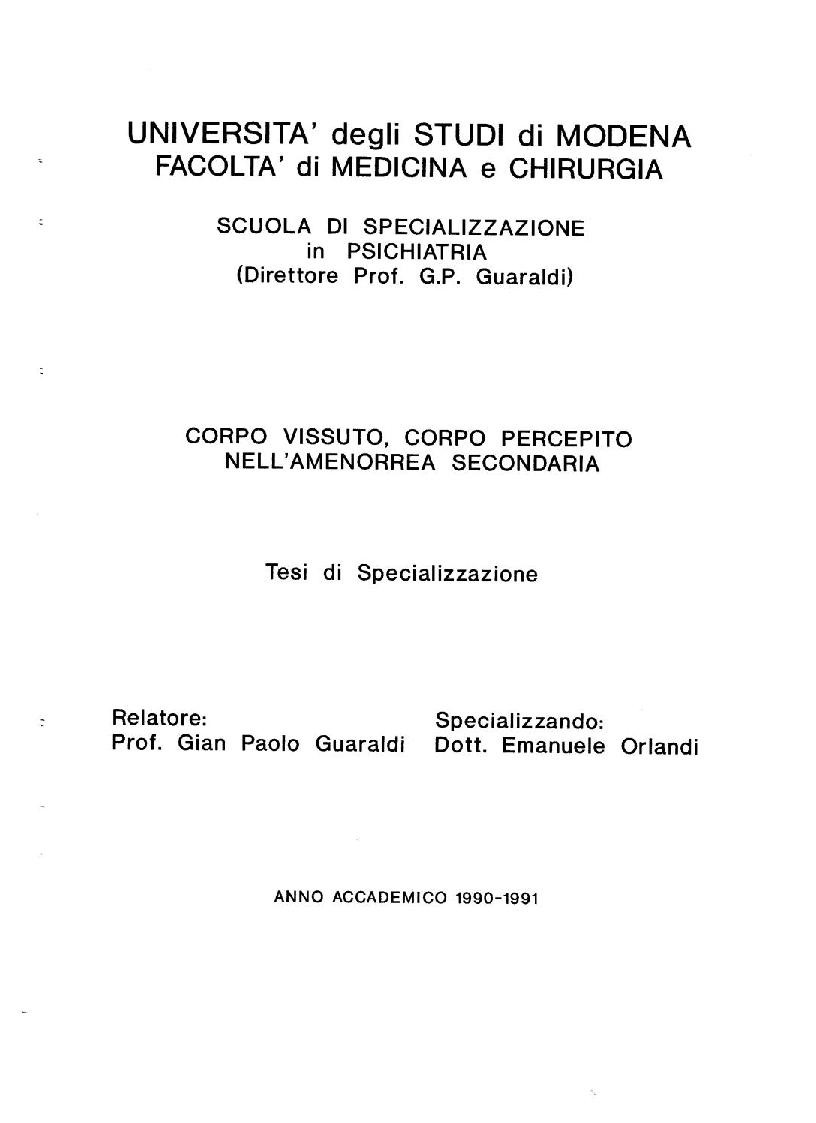 Anteprima della tesi: Corpo Vissuto, Corpo Percepito nell'Amenorrea Secondaria, Pagina 1