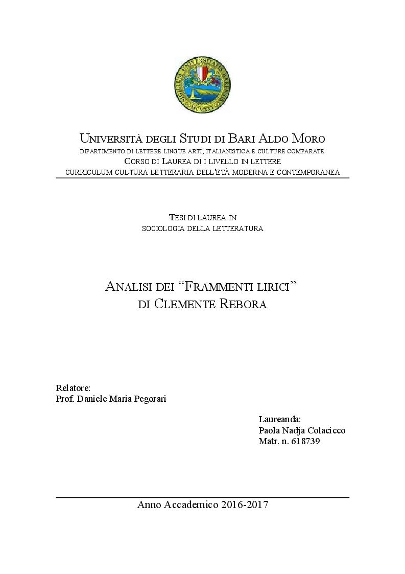 Anteprima della tesi: Analisi dei Frammenti lirici di Clemente Rebora, Pagina 1