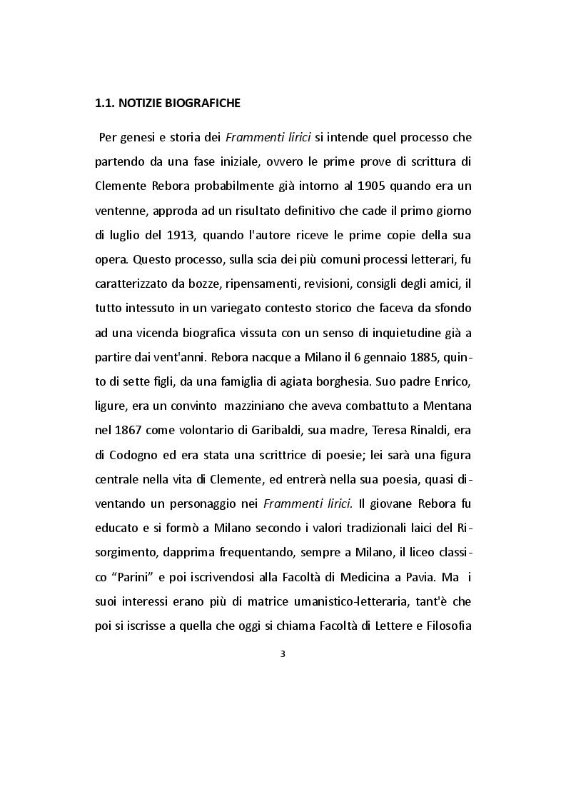 Anteprima della tesi: Analisi dei Frammenti lirici di Clemente Rebora, Pagina 3