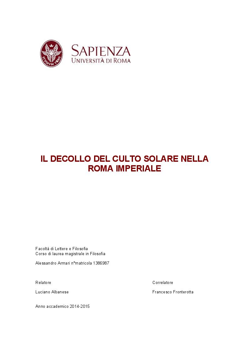 Anteprima della tesi: Il decollo del culto solare nella Roma imperiale, Pagina 1