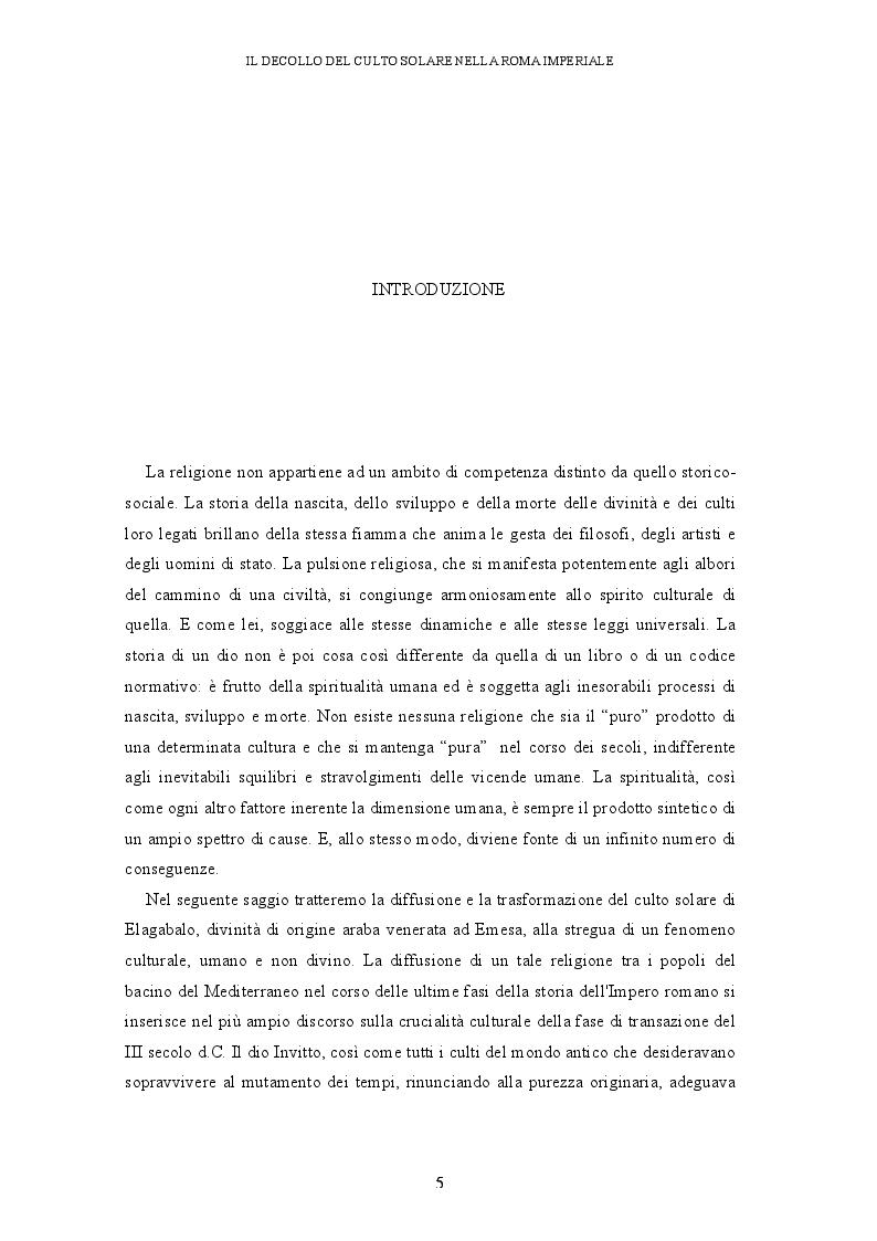 Anteprima della tesi: Il decollo del culto solare nella Roma imperiale, Pagina 2