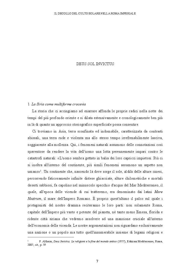 Anteprima della tesi: Il decollo del culto solare nella Roma imperiale, Pagina 4
