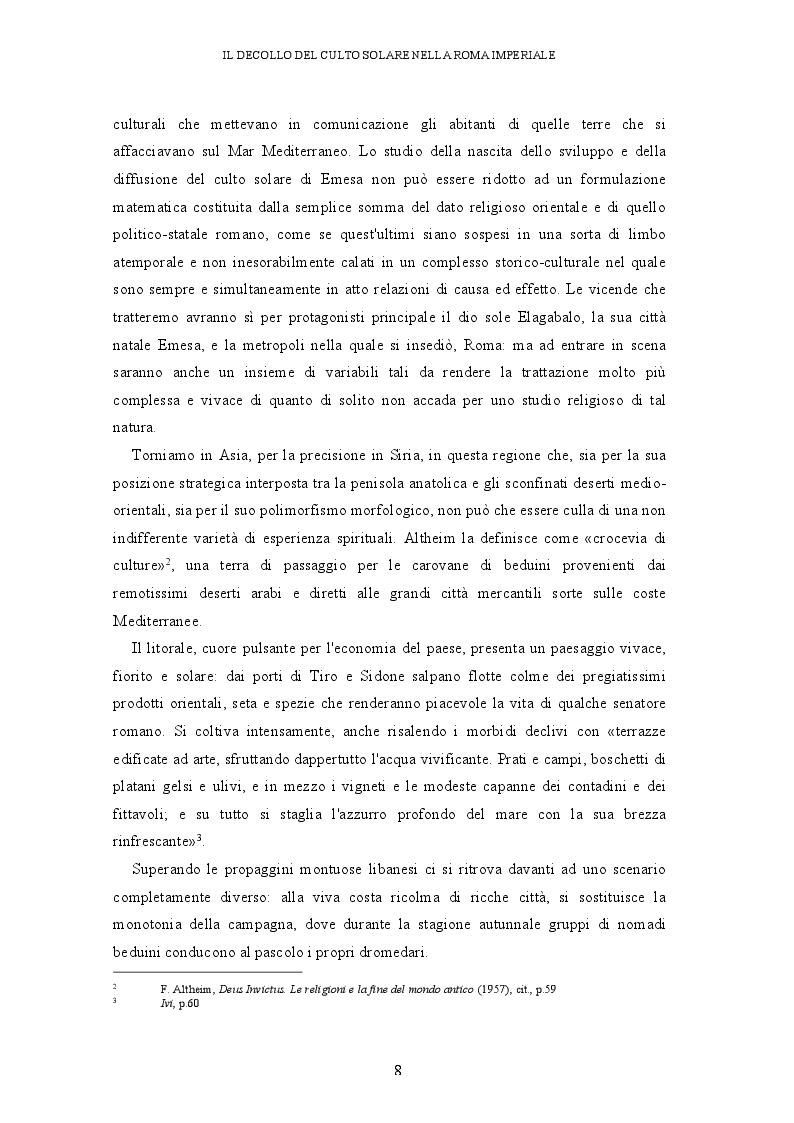 Anteprima della tesi: Il decollo del culto solare nella Roma imperiale, Pagina 5