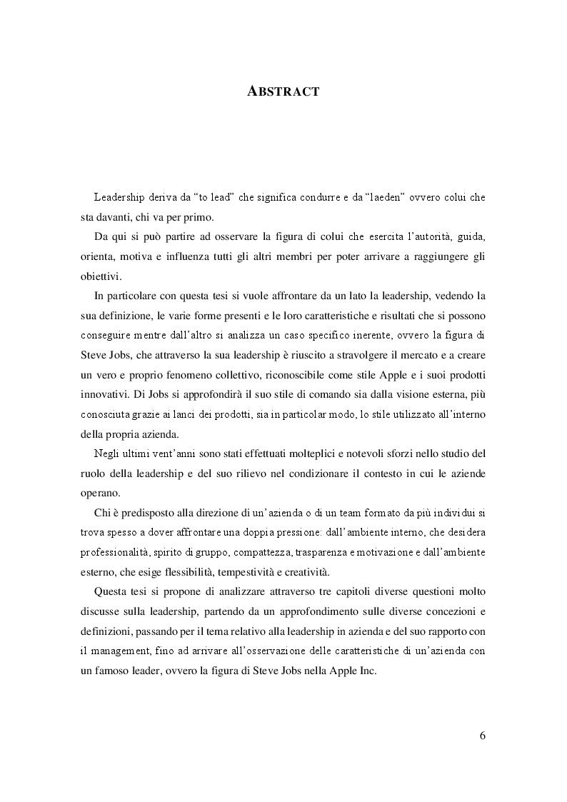 Anteprima della tesi: La leadership e il caso Steve Jobs, Pagina 2