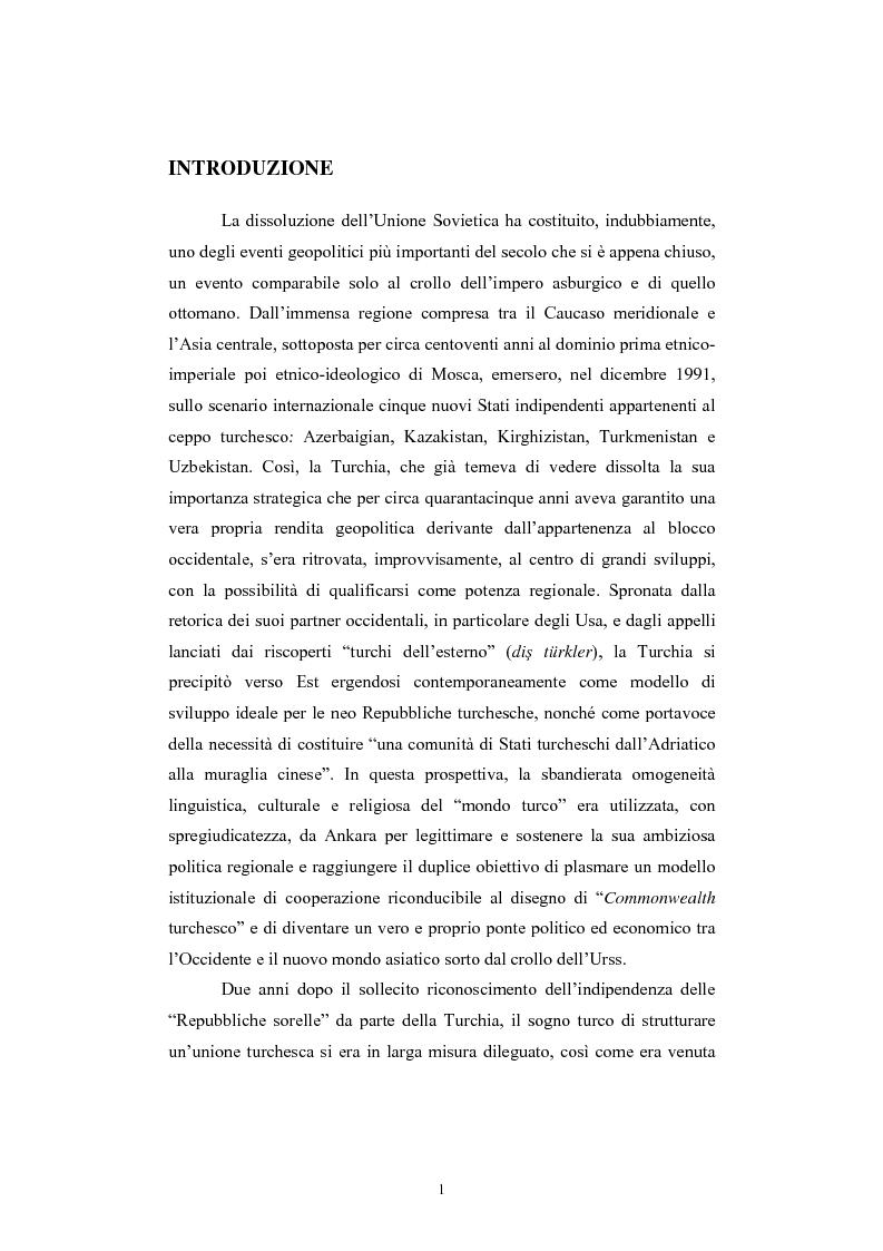Anteprima della tesi: Lo spazio geopolitico turco e il crollo dell'Urss. La politica regionale della Turchia nella Transcaucasia e nell'Asia centrale., Pagina 1