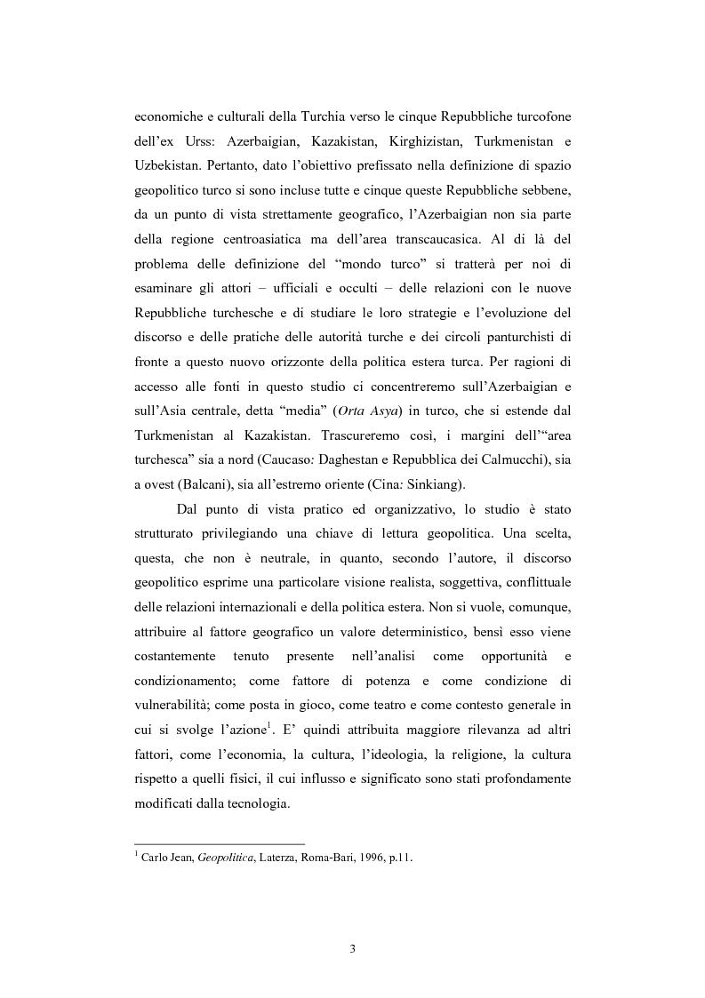 Anteprima della tesi: Lo spazio geopolitico turco e il crollo dell'Urss. La politica regionale della Turchia nella Transcaucasia e nell'Asia centrale., Pagina 3