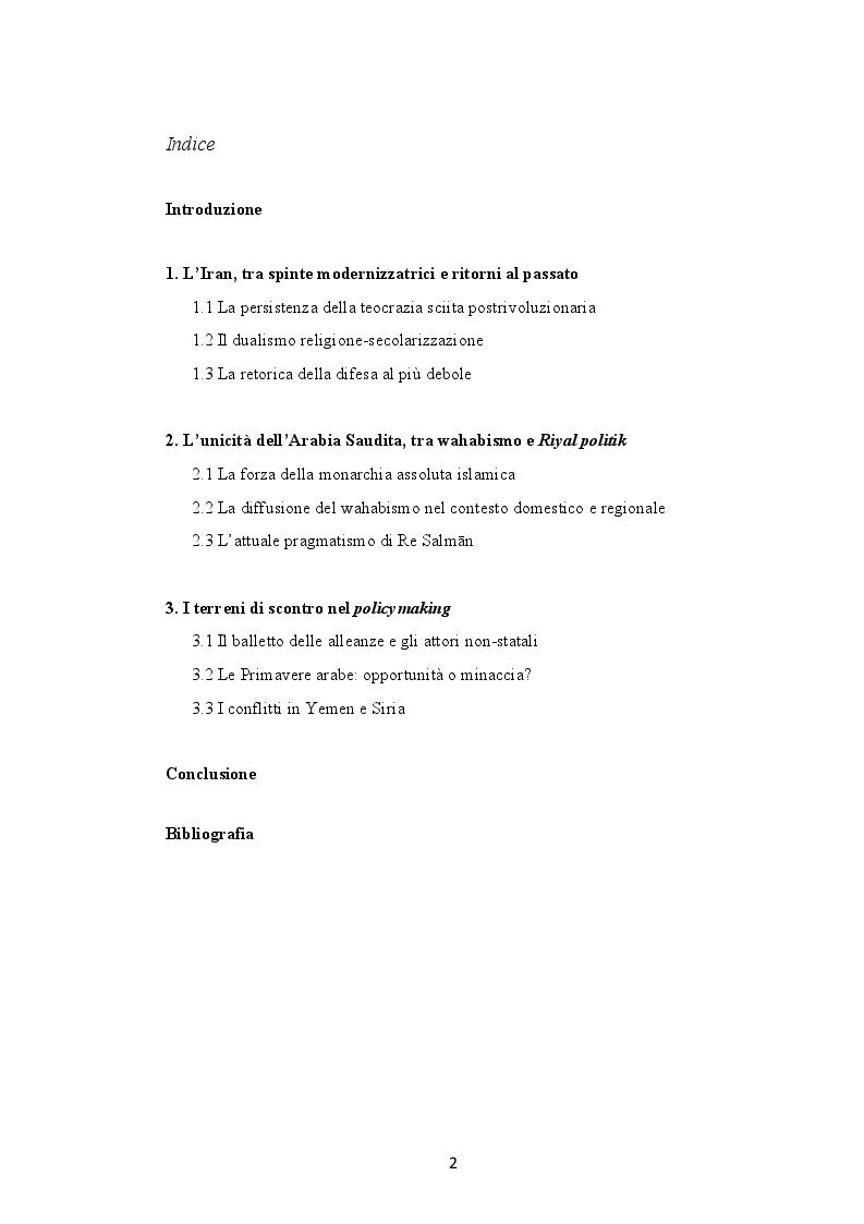 Indice della tesi: Il ruolo dell'ideologia islamista nei processi politico-identitari del Medio Oriente. La Nuova Guerra Fredda tra Iran e Arabia Saudita, Pagina 1