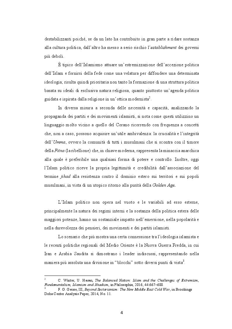 Anteprima della tesi: Il ruolo dell'ideologia islamista nei processi politico-identitari del Medio Oriente. La Nuova Guerra Fredda tra Iran e Arabia Saudita, Pagina 3