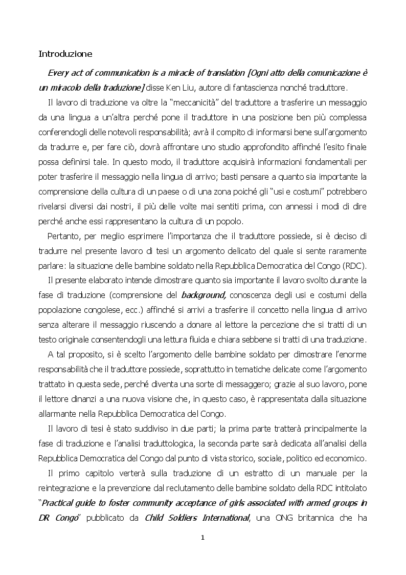 Anteprima della tesi: Child Soldiers International: la situazione delle bambine soldato nella Repubblica Democratica del Congo, Pagina 3
