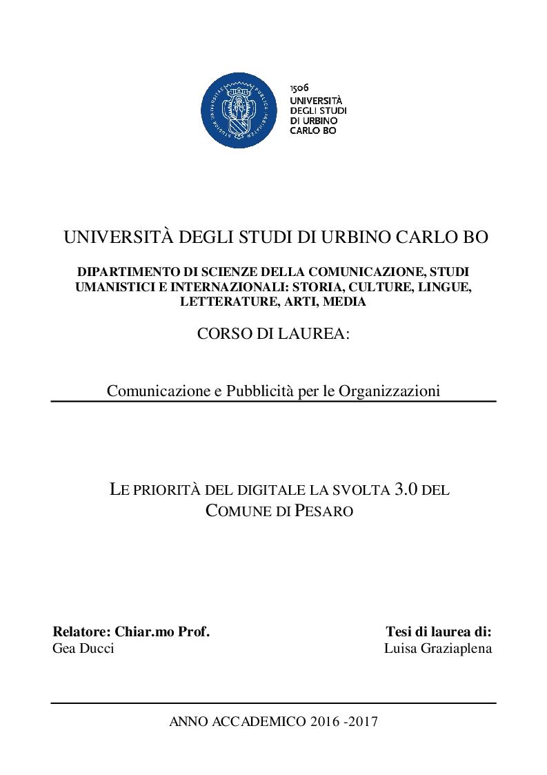 Anteprima della tesi: Le priorità del digitale e la svolta 3.0 del comune di Pesaro, Pagina 1