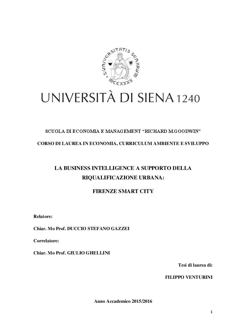 Anteprima della tesi: La Business Intelligence a supporto della riqualificazione urbana: Firenze Smart City, Pagina 1