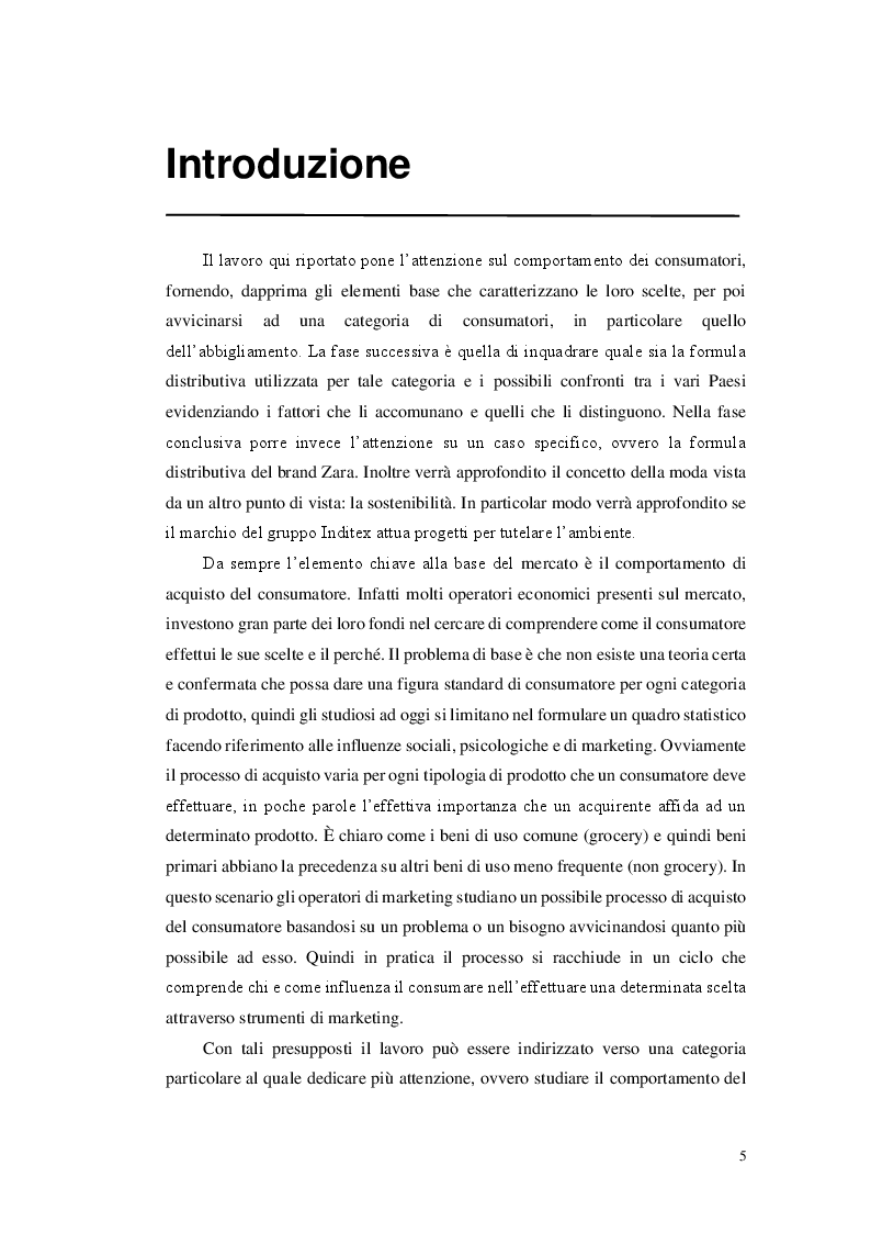 Anteprima della tesi: Il comportamento del consumatore nel comparto cheap fashion. Il caso Zara, Pagina 2