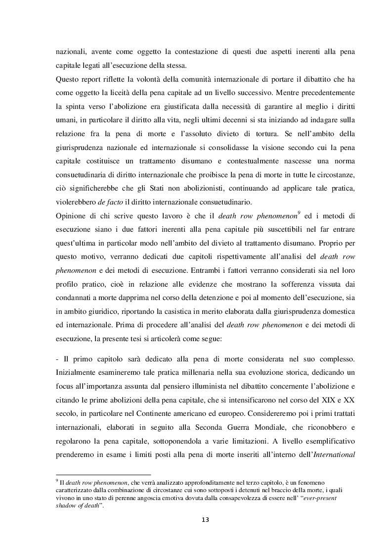 Anteprima della tesi: L'esecuzione della pena di morte in relazione al divieto di tortura: una punizione disumana?, Pagina 4