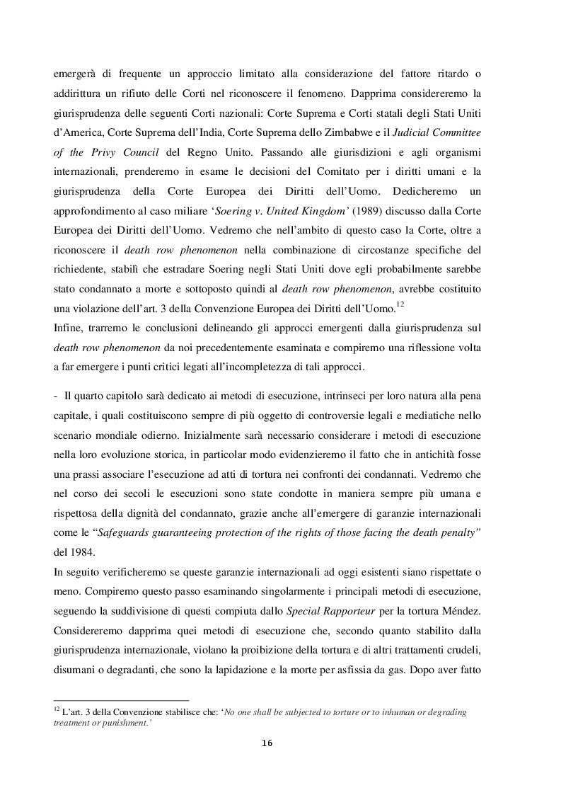 Anteprima della tesi: L'esecuzione della pena di morte in relazione al divieto di tortura: una punizione disumana?, Pagina 7