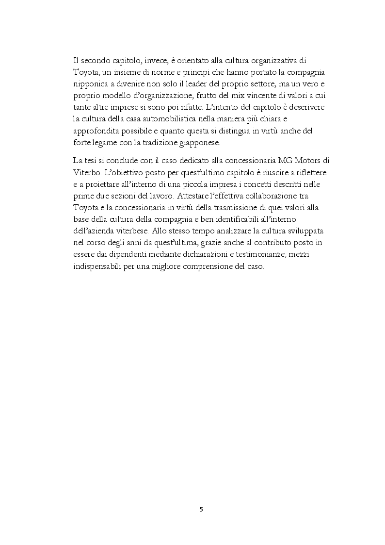 Anteprima della tesi: La Cultura Organizzativa di Toyota: il caso MG Motors, Pagina 3