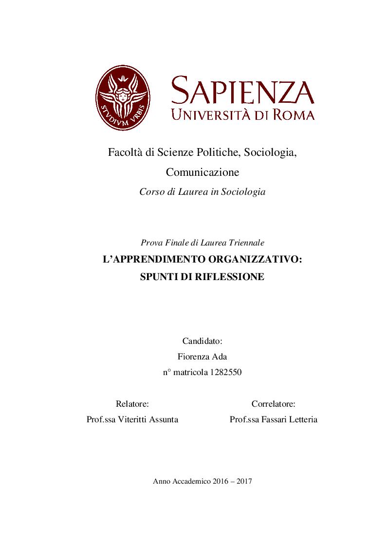 Anteprima della tesi: L'Apprendimento Organizzativo: spunti di riflessione, Pagina 1