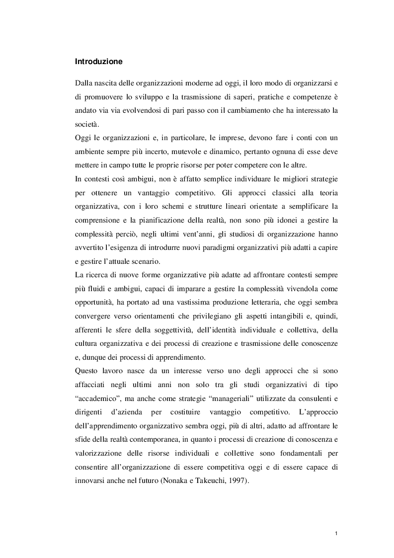 Anteprima della tesi: L'Apprendimento Organizzativo: spunti di riflessione, Pagina 2