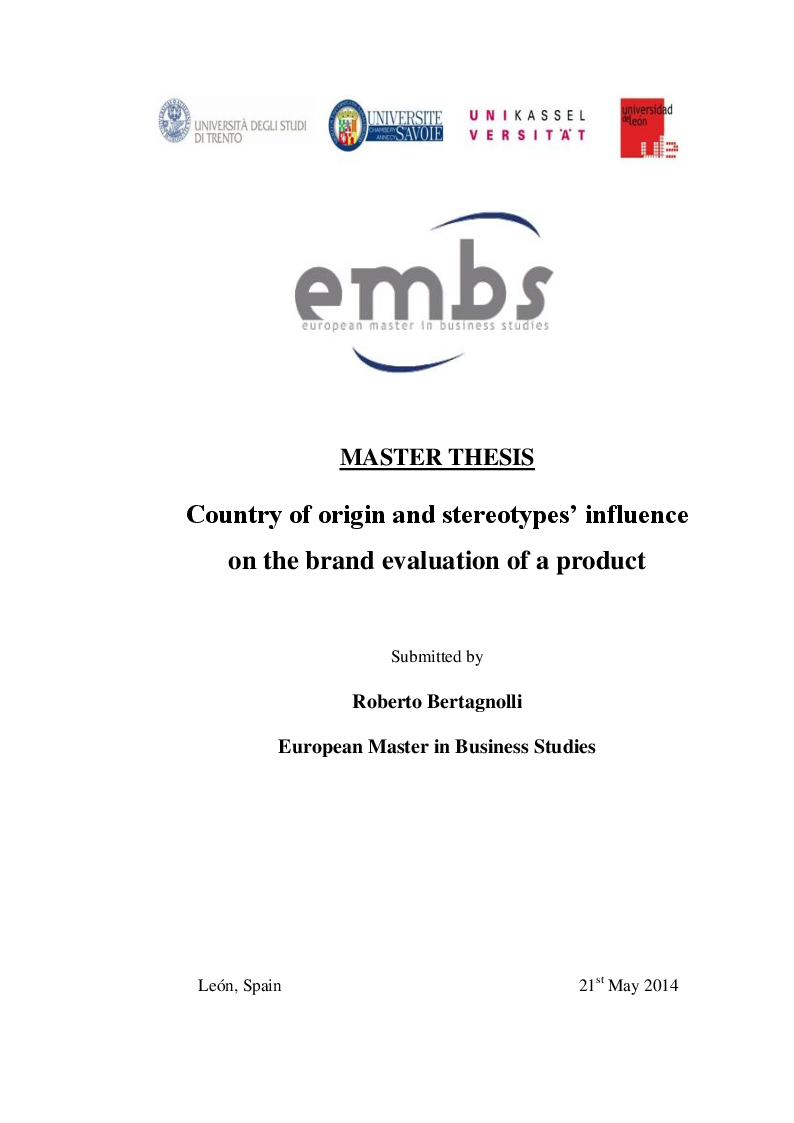 Anteprima della tesi: Country of origin and stereotypes' influence on the brand evaluation of a product, Pagina 1