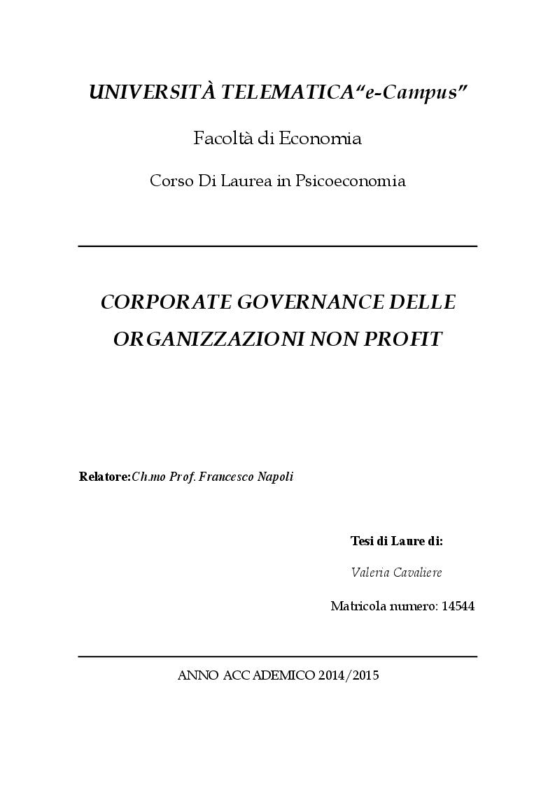 Anteprima della tesi: Corporate  governance delle organizzazioni no profit, Pagina 1