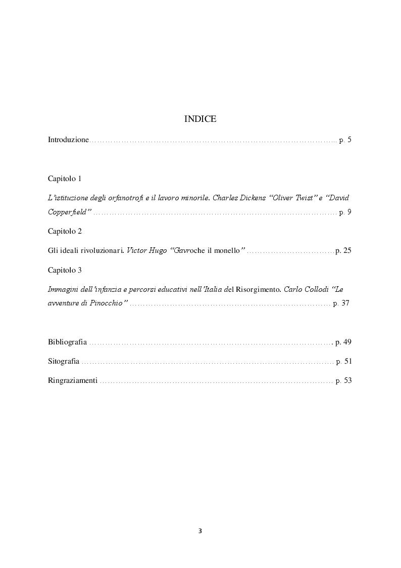 Indice della tesi: La figura del fanciullo nel romanzo europeo del XIX secolo, Pagina 1