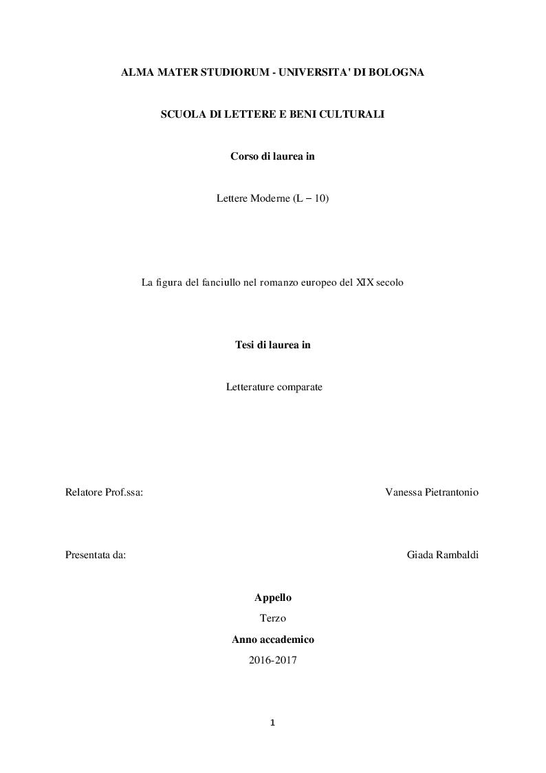 Anteprima della tesi: La figura del fanciullo nel romanzo europeo del XIX secolo, Pagina 1