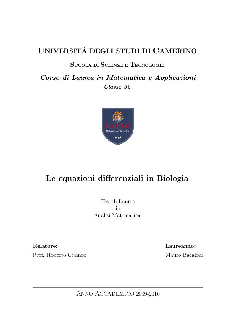 Anteprima della tesi: Le equazioni differenziali in biologia, Pagina 1