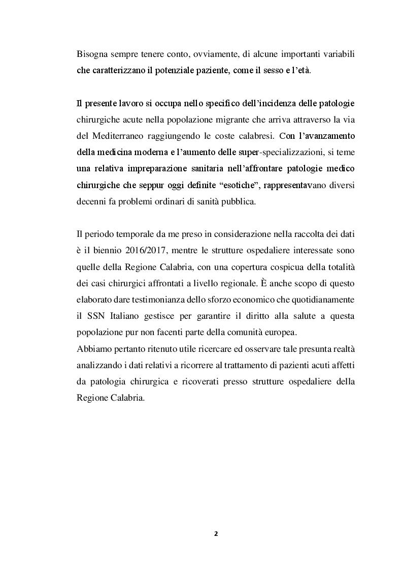 Anteprima della tesi: Incidenza di Patologia Chirurgica acuta in popolazione di migranti Studio osservazionale multicentrico, Pagina 3