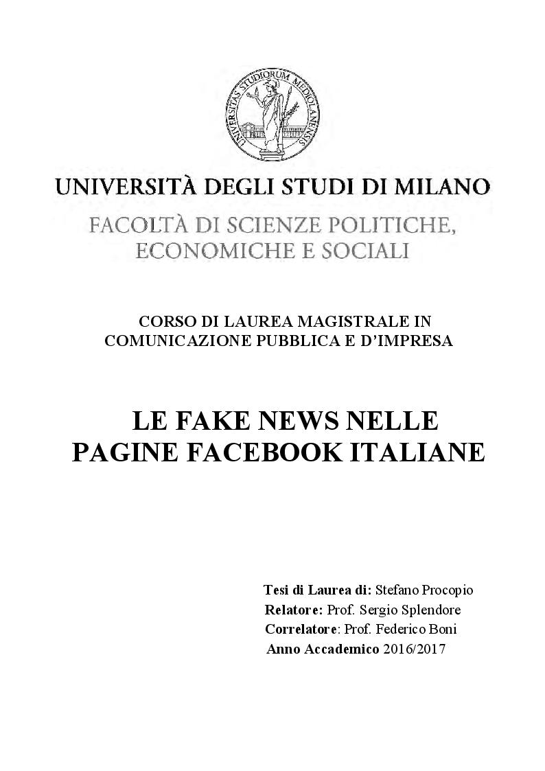 Anteprima della tesi: Le fake news nelle pagine facebook italiane, Pagina 1