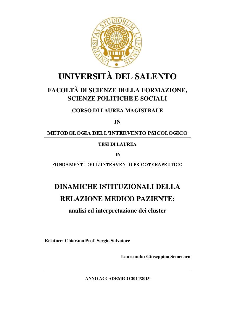 Anteprima della tesi: Dinamiche istituzionali della relazione medico paziente: analisi ed interpretazione dei cluster, Pagina 1