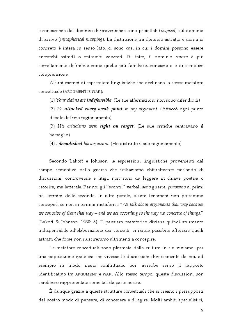 Anteprima della tesi: Si può rottamare la speranza? Uno studio psicolinguistico sull'uso metaforico dei verbi in italiano, Pagina 8