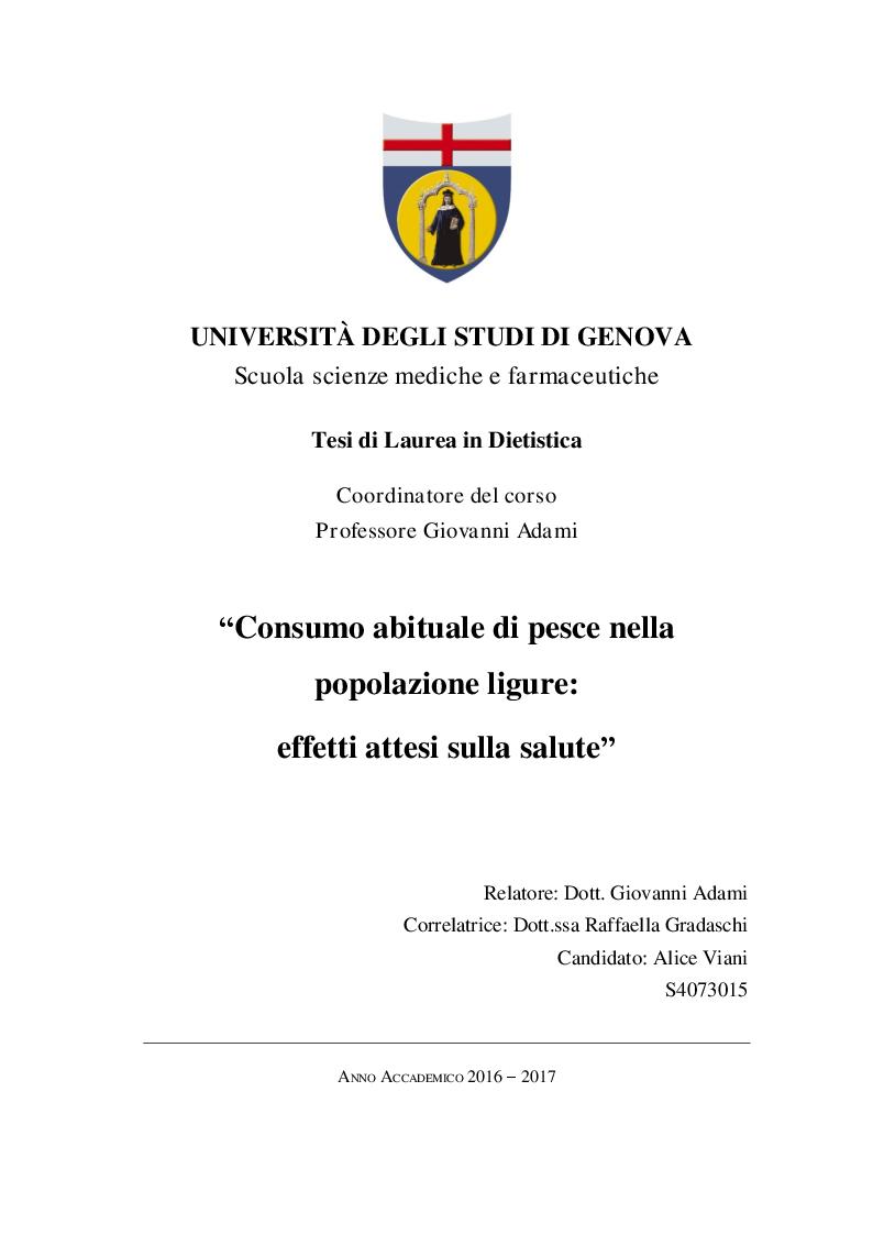 Anteprima della tesi: Consumo abituale di pesce nella popolazione ligure: effetti attesi sulla salute, Pagina 1