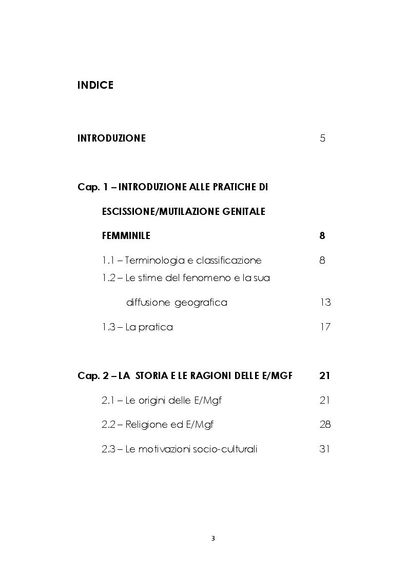 Indice della tesi: Le mutilazioni genitali femminili: fra etnocentrismo e relativismo culturale, Pagina 1
