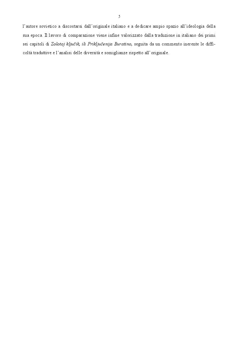 Anteprima della tesi: Pinocchio fra Est e Ovest. Analisi comparata del burattino italiano e della sua versione sovietica., Pagina 3