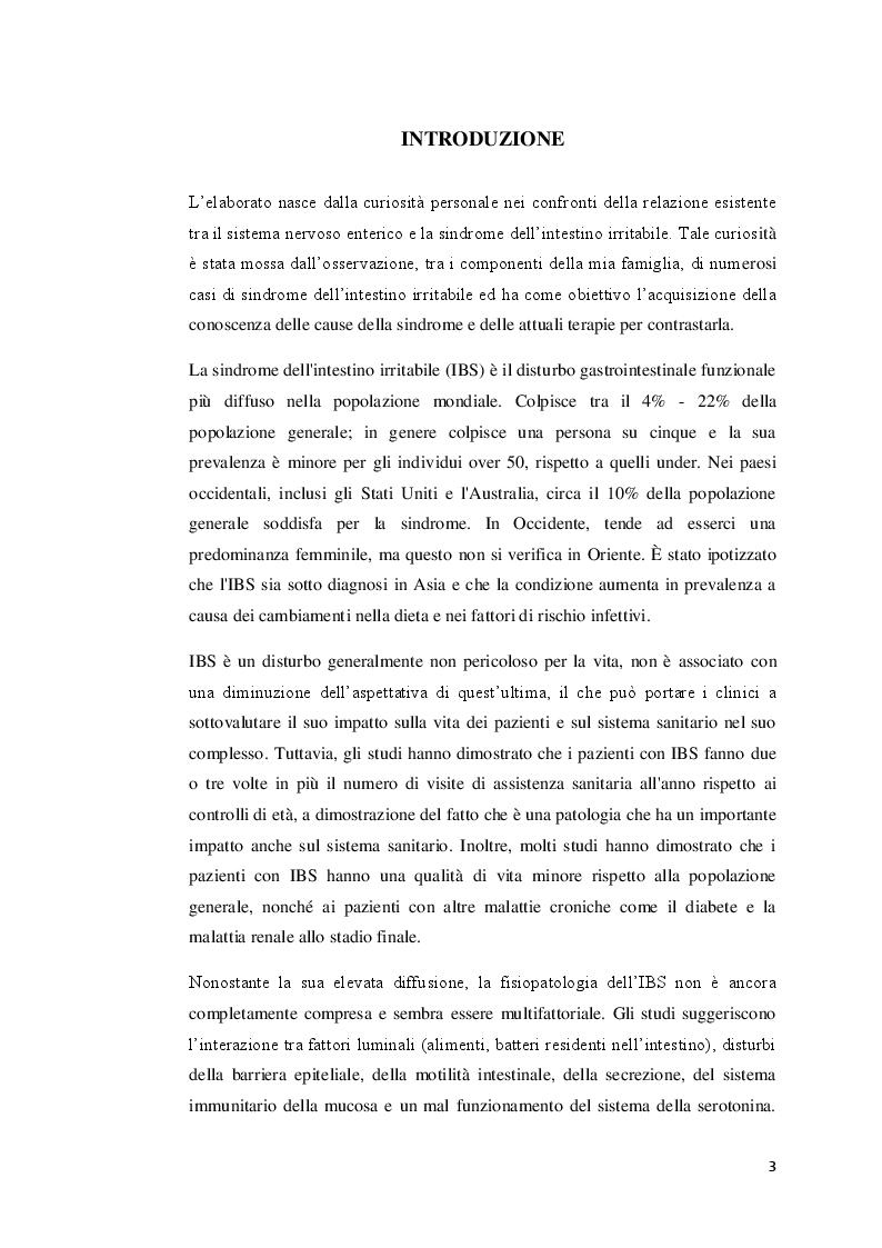 Anteprima della tesi: La sindrome dell'intestino irritabile: aspetti generali, correlazione con il sistema nervoso enterico e trattamenti terapeutici, Pagina 2