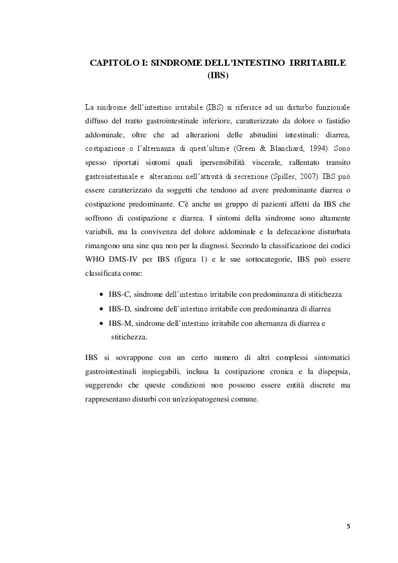 Anteprima della tesi: La sindrome dell'intestino irritabile: aspetti generali, correlazione con il sistema nervoso enterico e trattamenti terapeutici, Pagina 4