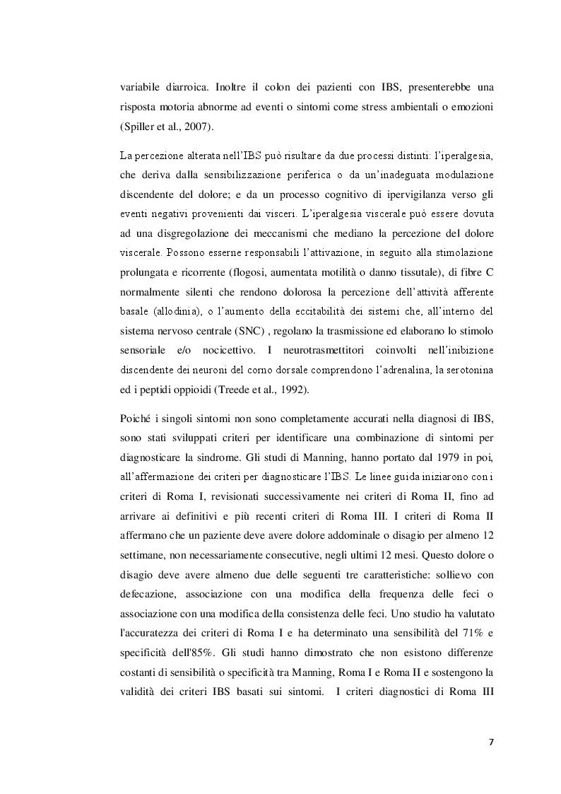 Anteprima della tesi: La sindrome dell'intestino irritabile: aspetti generali, correlazione con il sistema nervoso enterico e trattamenti terapeutici, Pagina 6
