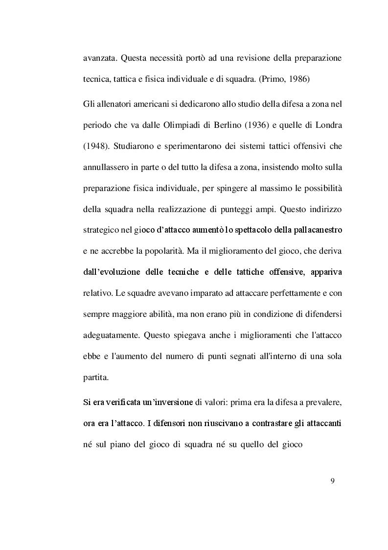 Anteprima della tesi: Evoluzione, tecnica e tattica della difesa individuale nella pallacanestro, Pagina 7
