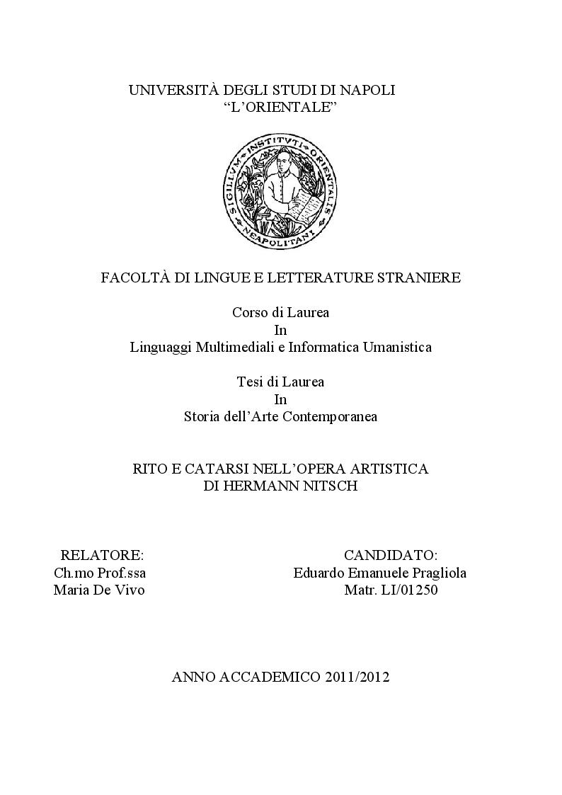 Anteprima della tesi: Rito e Catarsi nell'opera artistica di Hermann Nitsch, Pagina 1