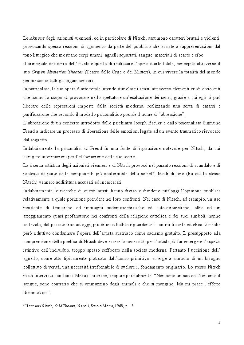 Anteprima della tesi: Rito e Catarsi nell'opera artistica di Hermann Nitsch, Pagina 4