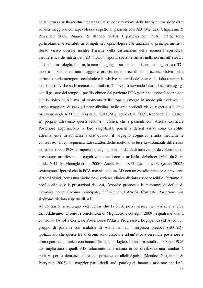Anteprima della tesi: Atrofia Corticale Posteriore: eziologia, tratti distintivi ed ipotesi riabilitative, Pagina 3