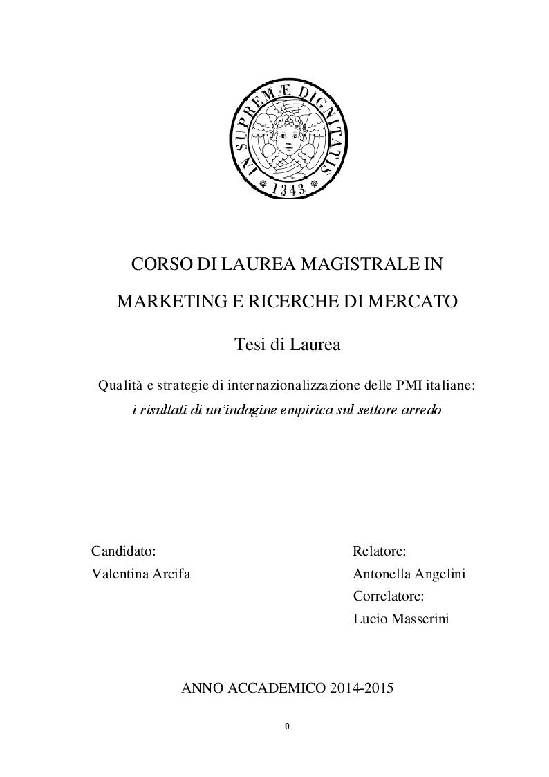 Anteprima della tesi: Qualità e strategie di internazionalizzazione delle PMI italiane: i risultati di un'indagine empirica sul settore arredo, Pagina 1
