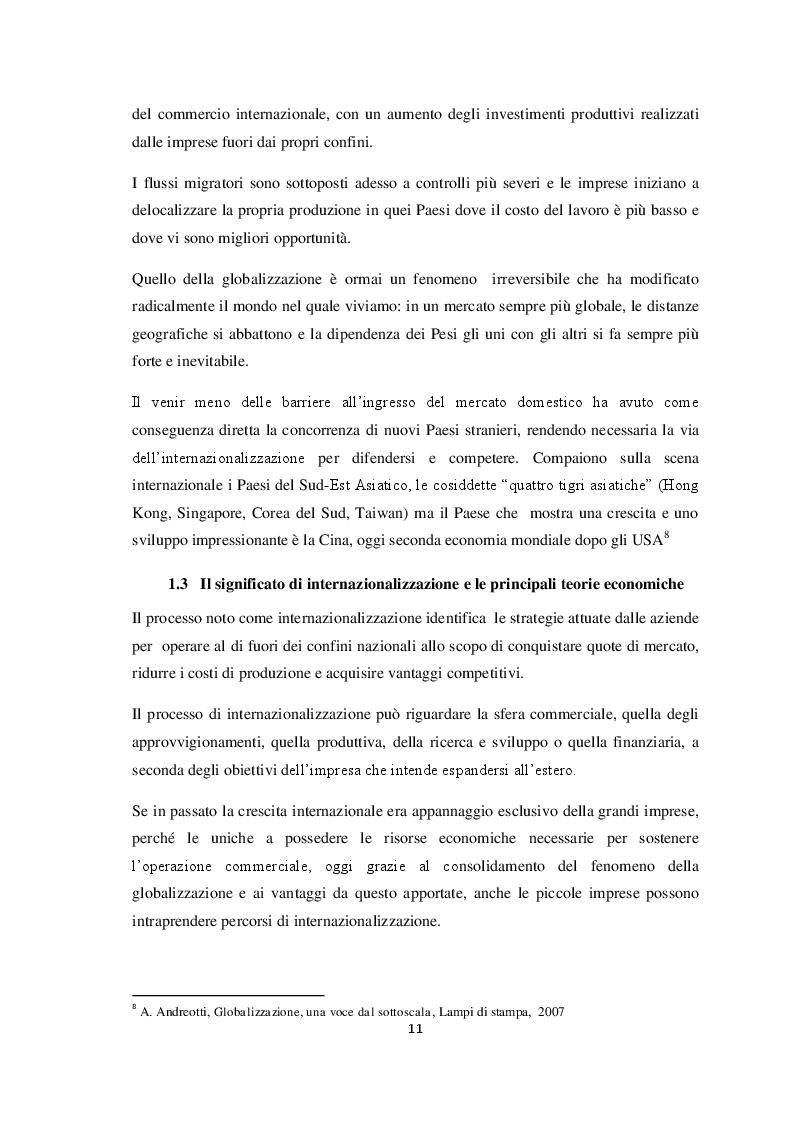 Anteprima della tesi: Qualità e strategie di internazionalizzazione delle PMI italiane: i risultati di un'indagine empirica sul settore arredo, Pagina 9