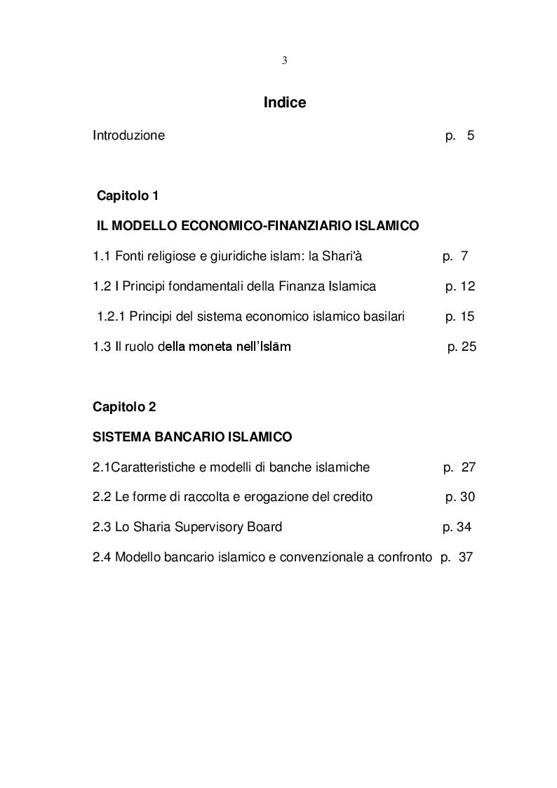 Indice della tesi: Islamic Banking, Pagina 1