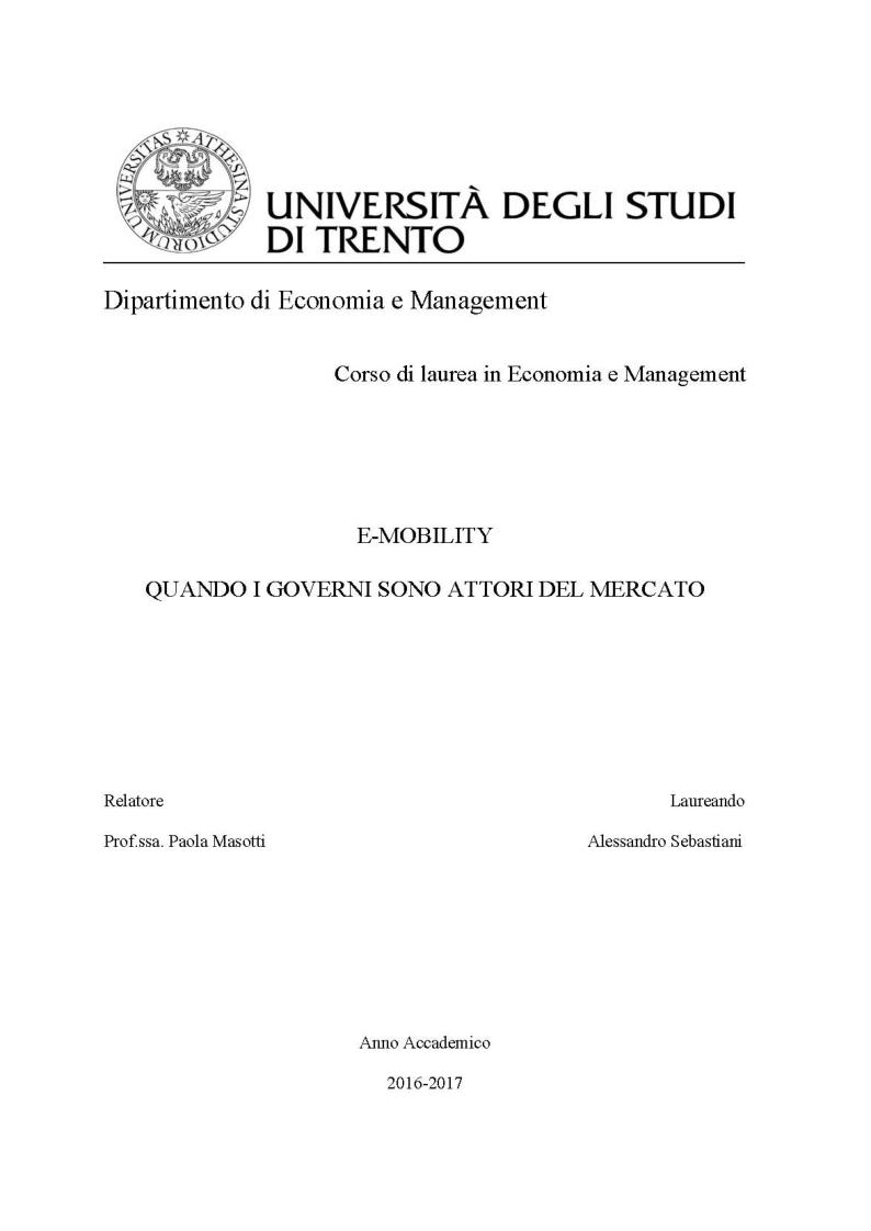 Anteprima della tesi: E-Mobility: Quando i Governi sono attori del mercato, Pagina 1