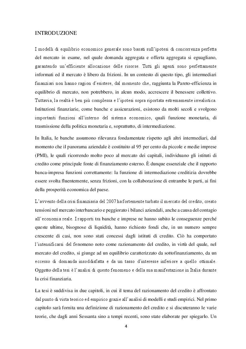 Anteprima della tesi: Il razionamento del credito in italia durante la crisi finanziaria , Pagina 2
