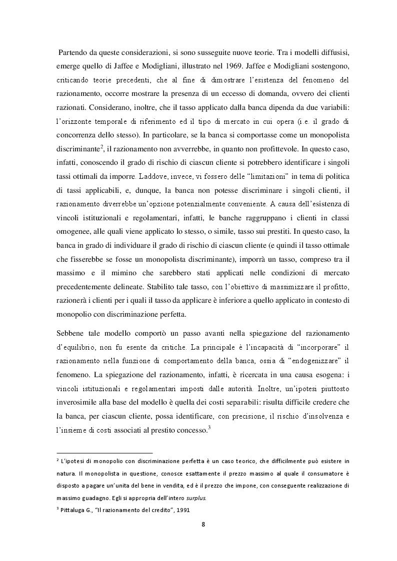 Anteprima della tesi: Il razionamento del credito in italia durante la crisi finanziaria , Pagina 6