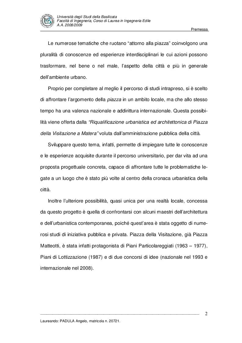 Anteprima della tesi: Evoluzione di uno spazio urbano tra storia e progetti: ''Piazza della Visitazione'' a Matera, Pagina 3